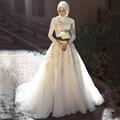 Старинные Свадебные Платья Высокий Воротник Аппликация Из Бисера С Длинным Рукавом Линии Мусульманской Свадебное Платье