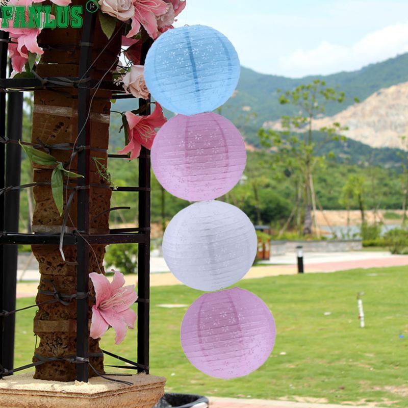 FANLUS 12 inch ronde Chinese papieren lantaarns met LED-verlichting - Feestversiering en feestartikelen