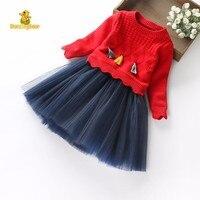 DancingBear Autumn Winter Cute Toddler Girl Clothing Sets Kids Children Long Sleeve Sweater Yarn Skirt 2pcs