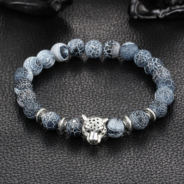 Hot Antique Silver Color Buddha Leopard Head Bracelet Lava Natural Stone Beaded Bracelets For Men