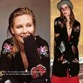 Cardigans mulheres Gato bordado knit top Oversize Cardigã De Lã preto longo camisola autum inverno moda roupas de marca