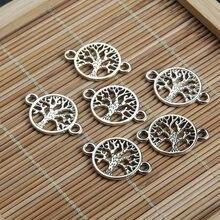 Connecteurs arbre de vie Double face, 20 pièces/lot, 15x22mm, en alliage, breloques creuses artisanales faites à la main pour la fabrication de Bracelets, bijoux