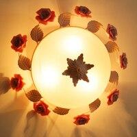 牧歌的な村シーリングライト現代セラミックローズ鉄ガラスの花ライト照明ガラスランプシェードシーリングランプza