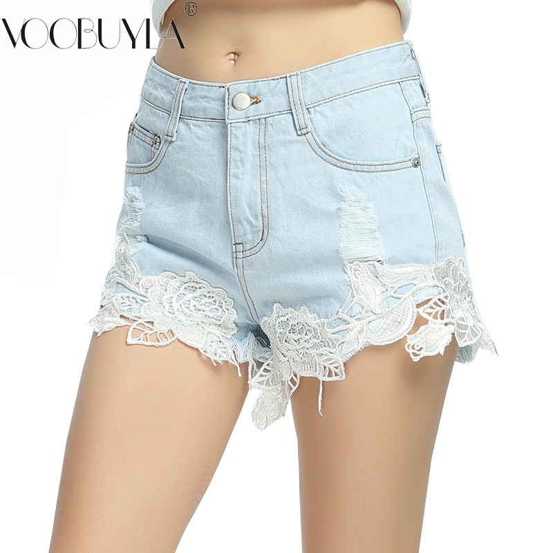 Voobuyla Hot Shorts Pocket Lace-Hole Ripped Thin Vintage Hollow Summer Women Flower