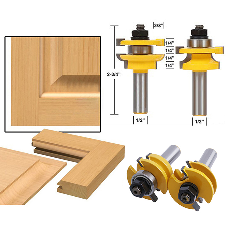 2Pcs 1/2'' Shank Rail & Stile Router Bits Shaker Woodworking Chisel Cutter Tool   22.37 RU-2.03 2pcs high quality 1 2 inch shank rail