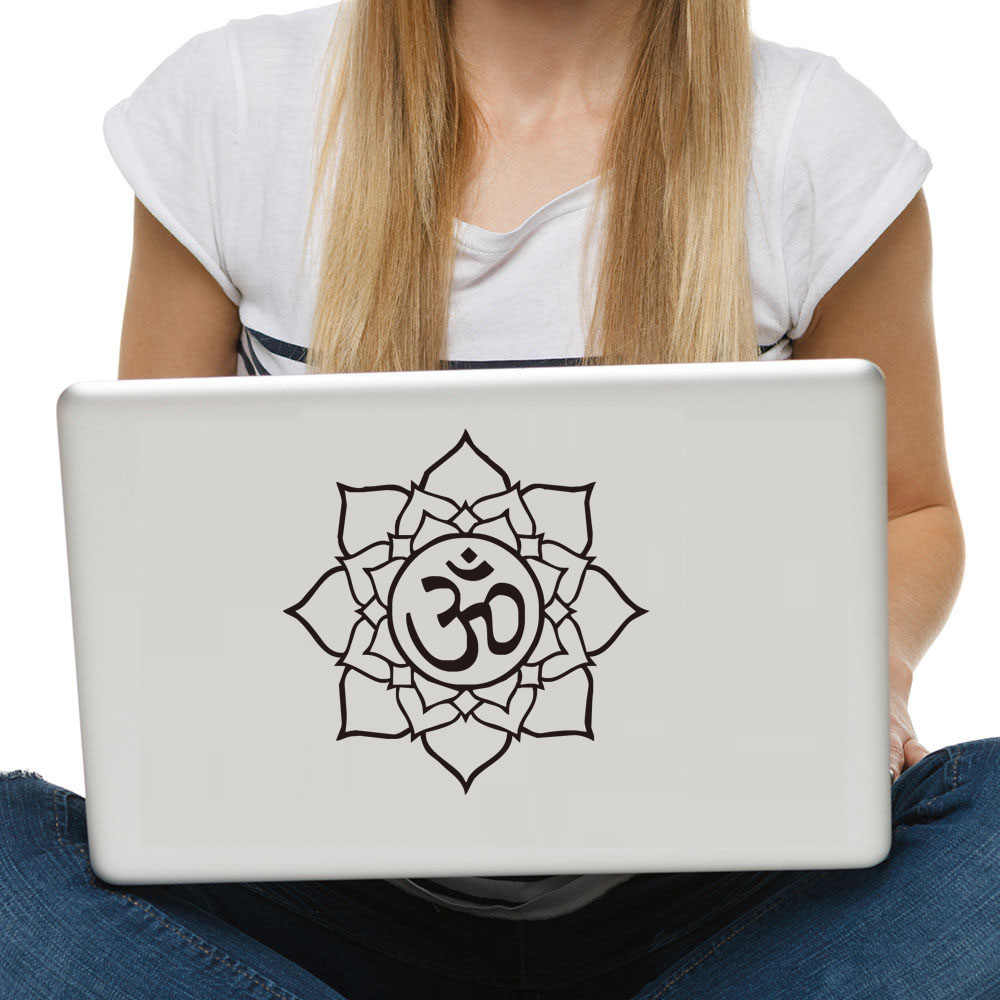 DCTOP OM Sign Mandala Buddha Lotus Wall Stickers Home Decor Computer Sticker Vinyl Adhesive Decals Wall Decoration