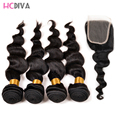 Brazilian Virgin Hair Loose Wave 4 Bundles with Closure Cheap Brazilian Human Hair Weave Bundles with Closure Curl,5 Pieces/ Lot