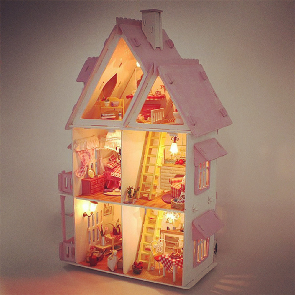 Lovely DIY Handmade House Villa Miniature Wooden Doll House 3D Furniture Kits 42cm Height Princess Dream-House Birthday Gift ...