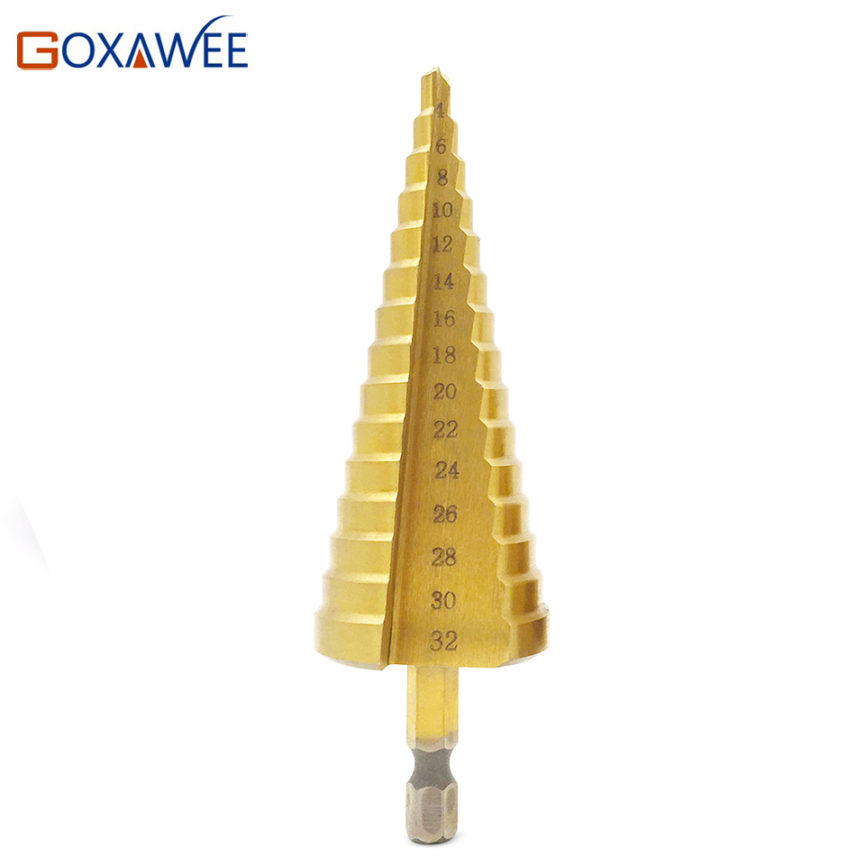 GOXAWEE 4-32mm Power Tools HSS Steel Large Step Cone Titanium Coated Metal Drill Bit Steel Woodworking Wood Metal Drilling Bits 1pc 4 32mm ex drills taper power tools step drill bit metal hss steel cone step drill sharpening hole countersink tools bit