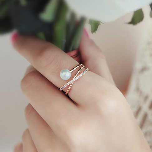Women's delicate Zircon pearls open Adjustable Rings Electroplate Gold Silver Rose Golden Lovely Korean style Quality Fine Rings