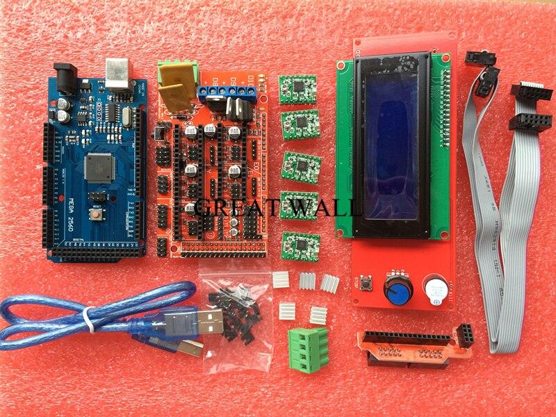 Nuevo 3D Kit de impresora Mega 2560 R3 + 1 unids rampas 1,4 controlador + 5 unids A4988 paso a paso Módulo de controlador/rampas 1,4 LCD 2004 control