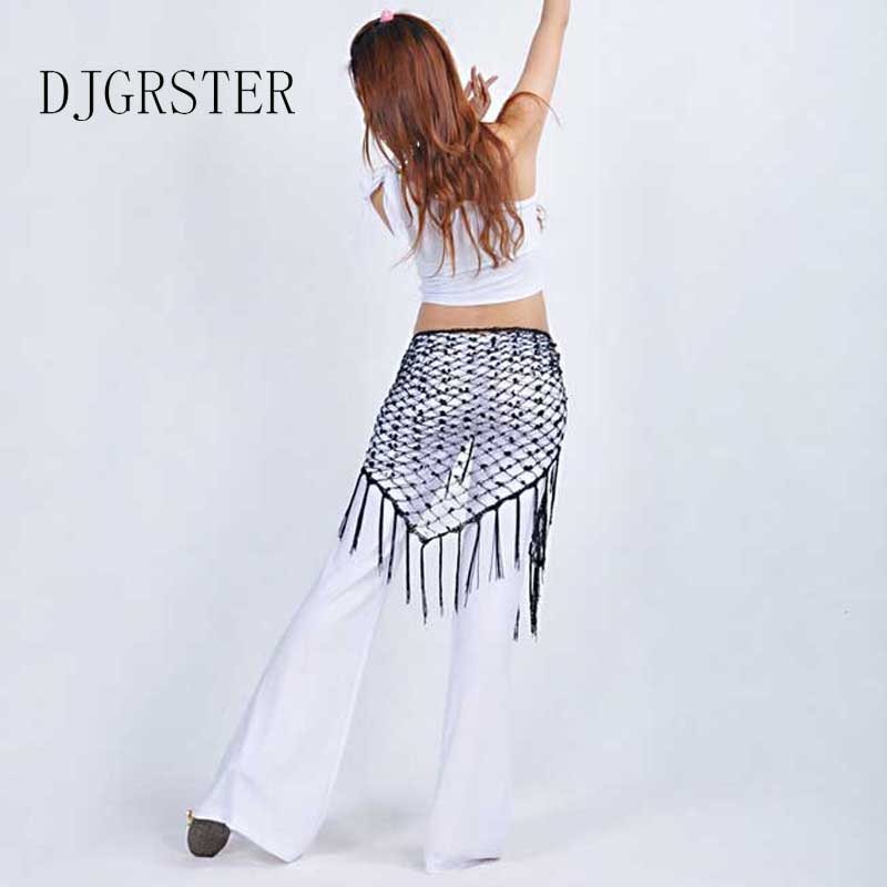 Djgrster danza ropa Accesorios stretchy long tassel triángulo mano ...