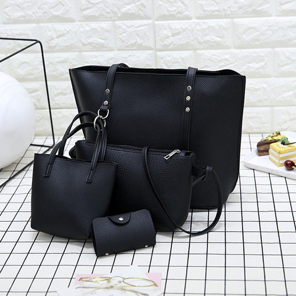 4pcs/Set PU Leather Tassels Shoulder Bag Women Big Capacity Tote Portable Handbag Mini Clutch Card Bags Travel Messenger Bag