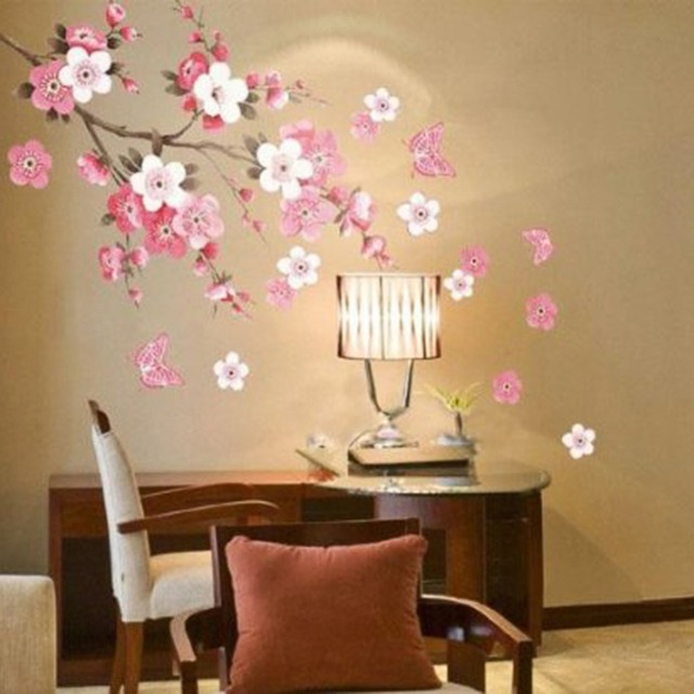Sakura Flower Bedroom Room Vinyl Decal Art DIY Home Decor Wall Sticker  Removable Stickers Transparent Poster