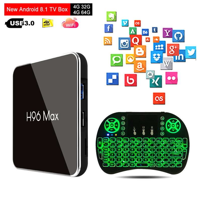 H96 Max X2 <font><b>Amlogic</b></font> <font><b>S905x2</b></font> Android 8.1 TV BOX LPDDR4 4GB 64GB Quad Core 2.4G/5G Wifi H.265 4K Smart media player H96MAX PK X96 image