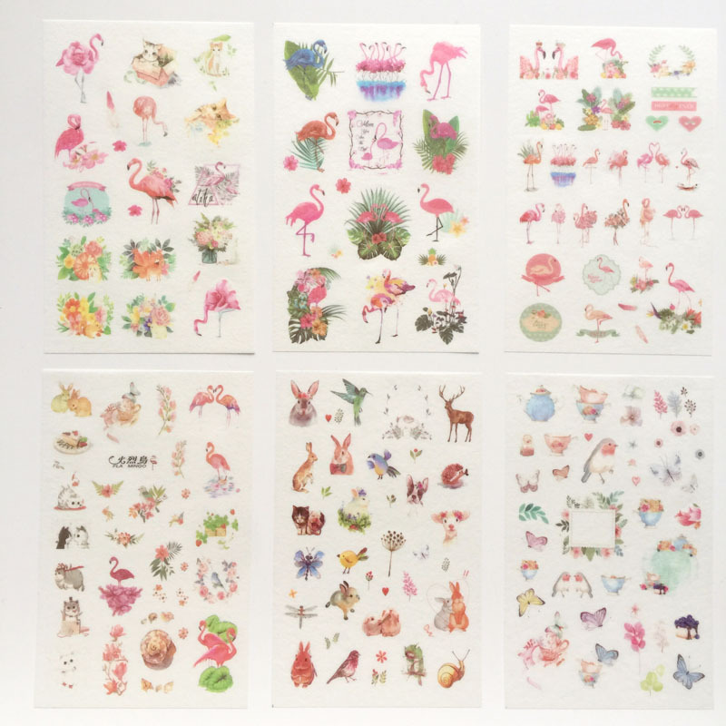 6 Pcs/pack Flamingo Freedom World Decorative Stickers Adhesive Stickers DIY Decoration Diary Stationery Stickers Children Gift