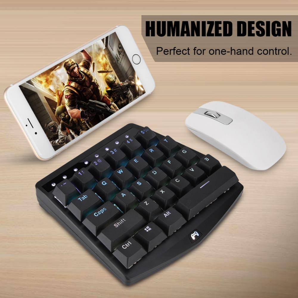 28 keys USB Wired Mini Mobile Phone One-Hand Game Mechanical Keyboard Backlit for PUBG ...