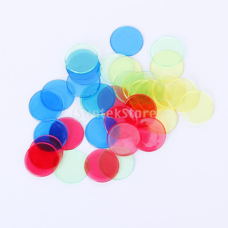 MagiDeal 100pcs PRO Count Bingo Chips Markers For Bingo Game Cards 2cm 4 Colors
