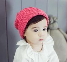 Child autumn and winter solid color hat baby boys girls fashion warm soft beanies kid's knitted ear care caps