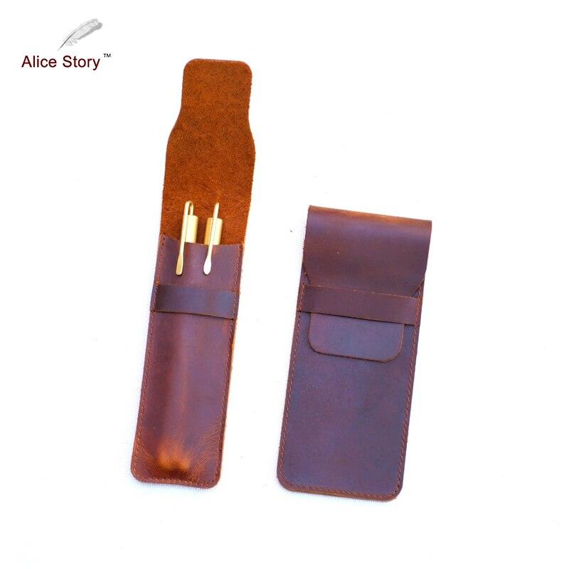 Alice Histoire Nouvelle Arrivée Genuie Crayon En Cuir Sac de peau de Vache Stylo Sac 16 cm x 5 cm et 16 cm x 7 cm Deux Tailles Disponibles Papeterie Accessoire