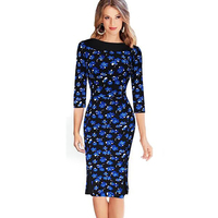New Arrival Elegant Womens Floral Printed Pencil Dress 3 4 Sleeve Sheath Bodice Knee Length Dress