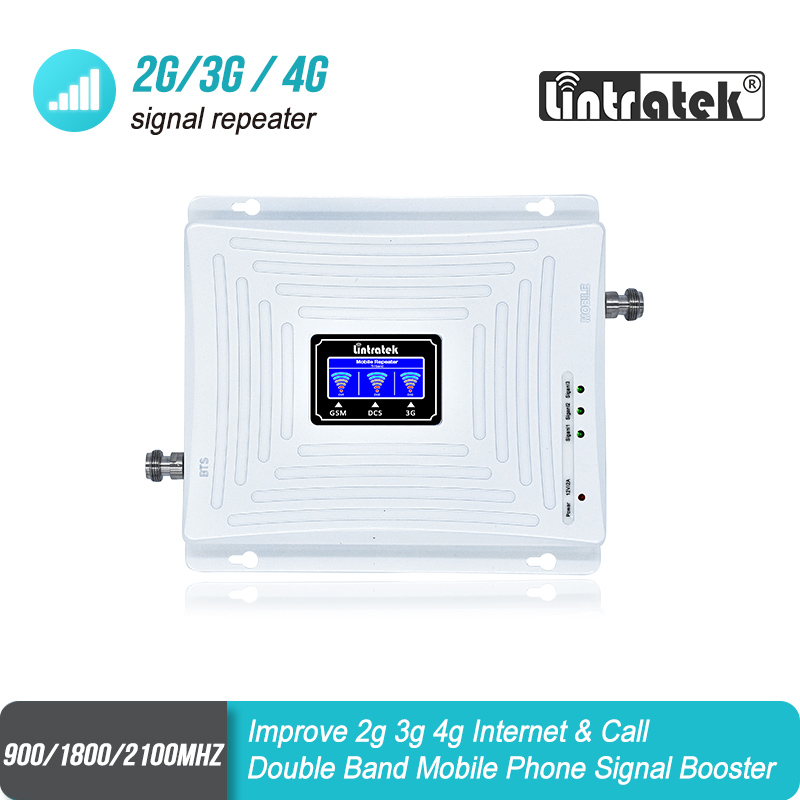 Lintratek 2G GSM 900 3G 2100 LTE 1800 Cellular Signal Booster Tri Band UMTS Repeater LCD