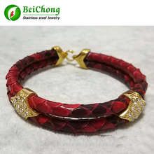 цена BC Watch Gift Red Python Skin Snake 5MM Men with Square Stainless Steel Circle Bangle Bracelet онлайн в 2017 году
