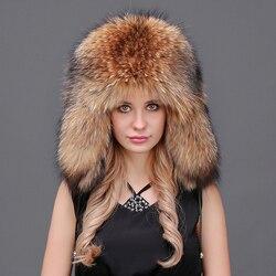 Мужские и женские зимние шапки из натурального Лисьего меха, Супер теплая шапка из натурального меха енота, благородная натуральная кожа, т...