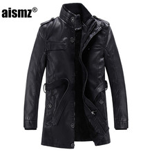 Aismz Thick Warm Winter Fashion Motorcycle PU Leather Jacket Men Long Wool Leather Standing Collar Jackets Coat Parka 12977