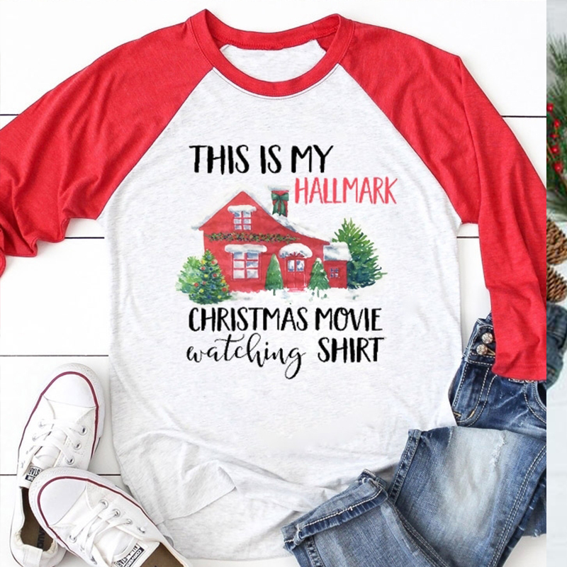 Cool  Merry Christmas Women T-shirts This Is My Hallmark  Fall Womens Hot Female Tshirt Tops Hot Plus Size Shirt Harajuku