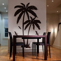 183cm x 112cm Large Palm trees wall sticker , tall palms with birds vinyl wall art sticker for house decoration free shipping