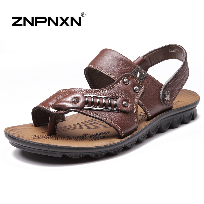 42cc5bf8b ZNPNXN New 2016 Brand Men s Sandals Quality Genuine Leather Cowhide Sandals  Outdoor Summer Casual Sandals Turn Slippers-in Men s Sandals from Shoes