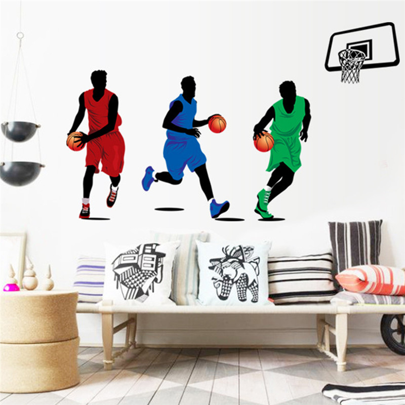 sport style playing basketball wall stickers for classroom students