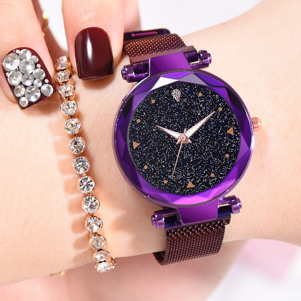 Starry Women Watches Magnetic Mesh Belt Band Lady Watch Stainless Steel Luxury Fashion Dress Watch Quartz Wrist Watches