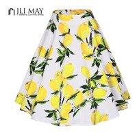 JLI MAY Short Vintage Women Skirt Retro Floral Print High Waist Ball Gown Elegant Party 50s