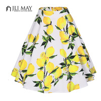 JLI MAY Short Vintage Women Skirt Retro Floral Print High Waist Ball Gown Elegant Party 50s