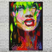 Palette knife portrait Face Oil painting Character figure canvas Hand painted Francoise Nielly wall Art picture 502