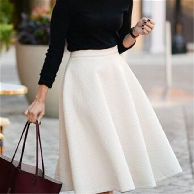 Autumn Spring 6XL 7XL Plus Size Midi Length Casual Swing Woman Skirt Summer Black Solid Tutu Skirt For Women 6XL 7XL Plus