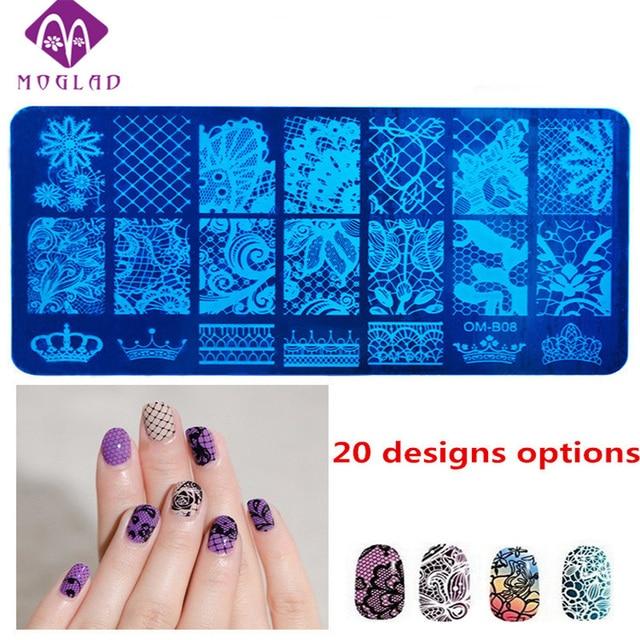 1pcs New 6X12cm OM B series Nail Stamping Template Charm 20 Designs ...