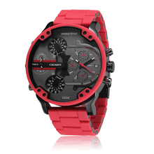 цена на Luxury Cagarny Quartz Watch For Men Cool Big Case Red Silicone Steel Band Sports Wristwatch Man Military Relogio Masculino D7370