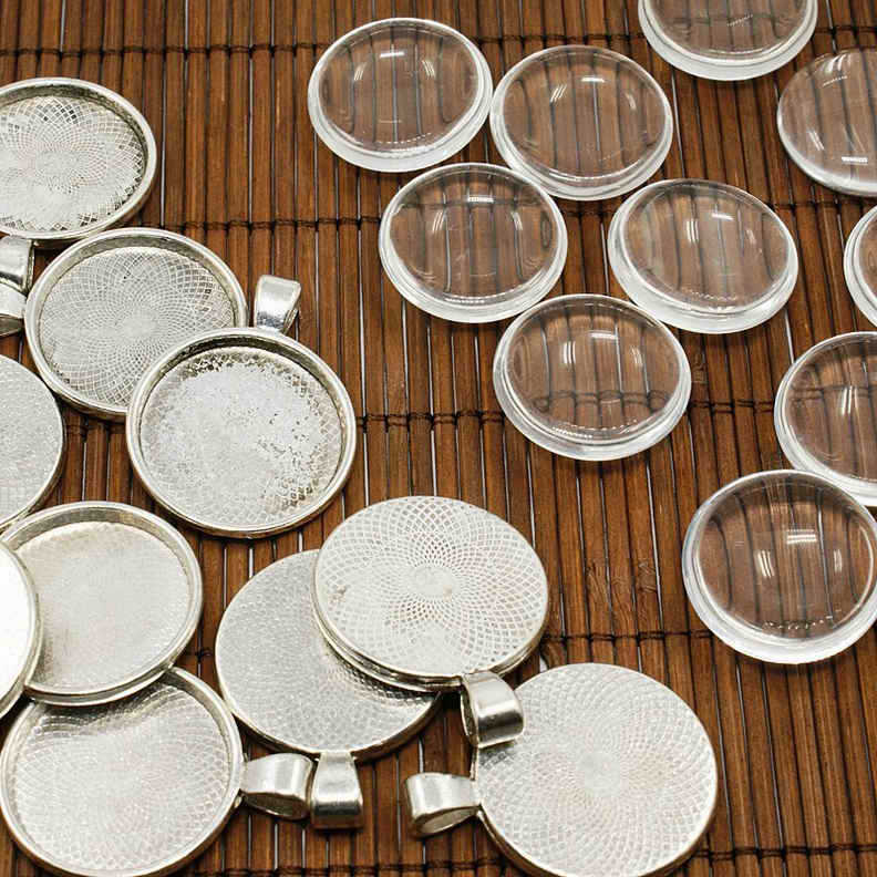 10 Connector Cabochon Settings for 23mm Cabs DIY Silver Nickel /& Lead Free