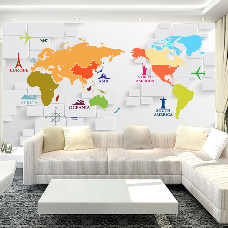 US $10.69 49% OFF|Custom 3D Photo Wallpaper 3D Stereoscopic World Map  Wallpaper For Kids Room Living Room Wall Mural Wallpaper Papel De Parede  3D-in ...