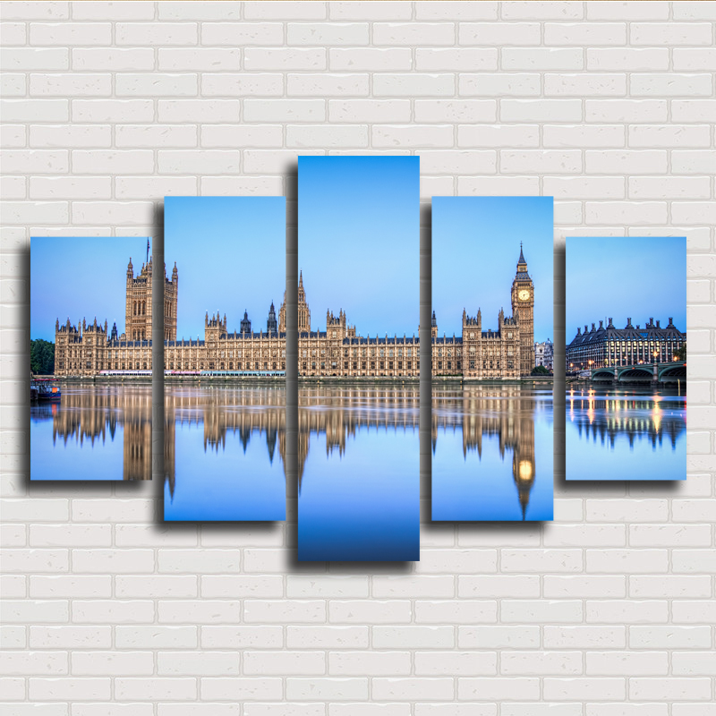 New 5 pieces sets canvas art canvas paintings building for Home decorations london