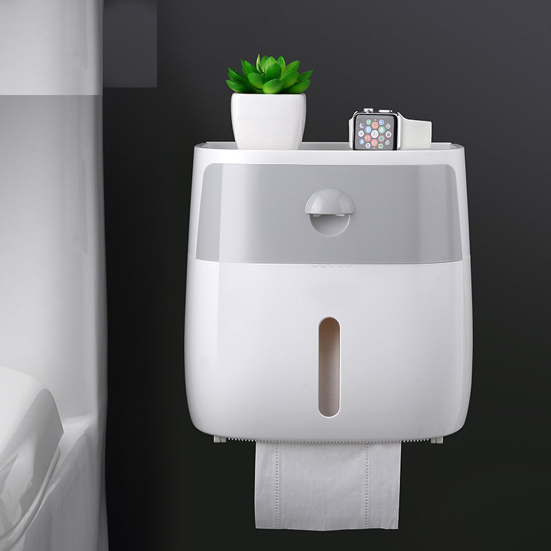 050 Fashion Wall mounted press open waterproof double layer tissue box Desk Organizer bathroom double tissue case 20 5 12 5 20cm in Tissue Boxes from Home Garden