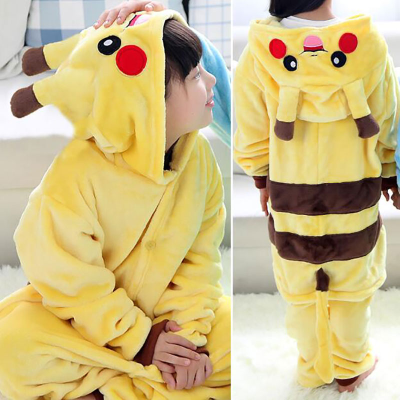 Kids Onesie Kigurumi Funny Overall Winter Warm Flannel Sleep Wear Kawaii Pajama Children Boy Girl Carnival Suit Hooded