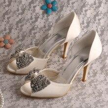 Wedopus MW511 Фирменное Наименование Peep Toe Стилет Каблук Свадебная Обувь с Горный Хрусталь Бабочкой