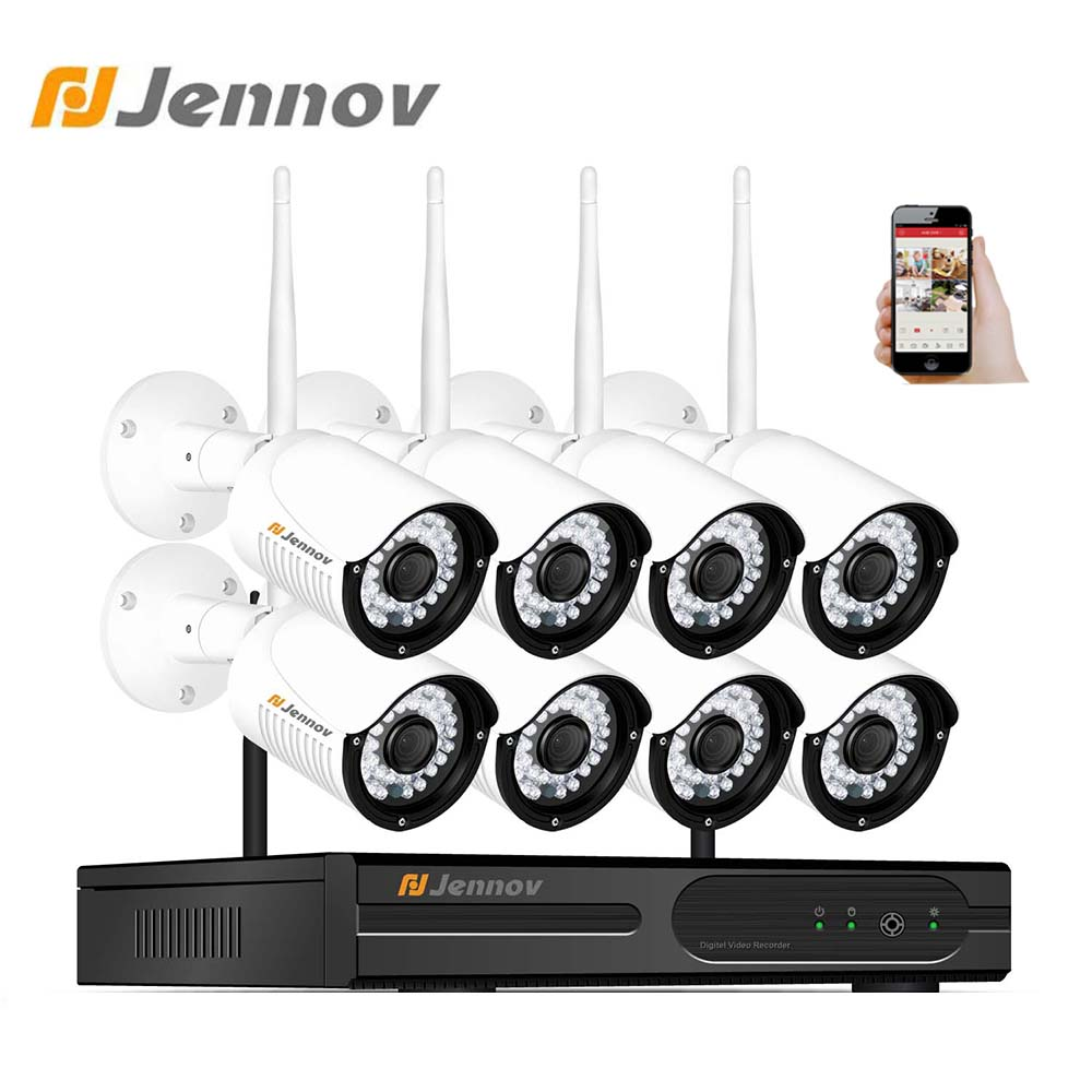Jennov Wireless Security Camera System 8CH 2MP 1080P Video Surveillance Kit Home Security CCTV HD Outdoor IP 66 Camera NVR P2P