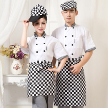 Chef Wear Short Sleeved Hotel Uniform Summer Restaurant Kitchen Logistics Clothing Mens Workwear Hotel-uniforms Waitress J011