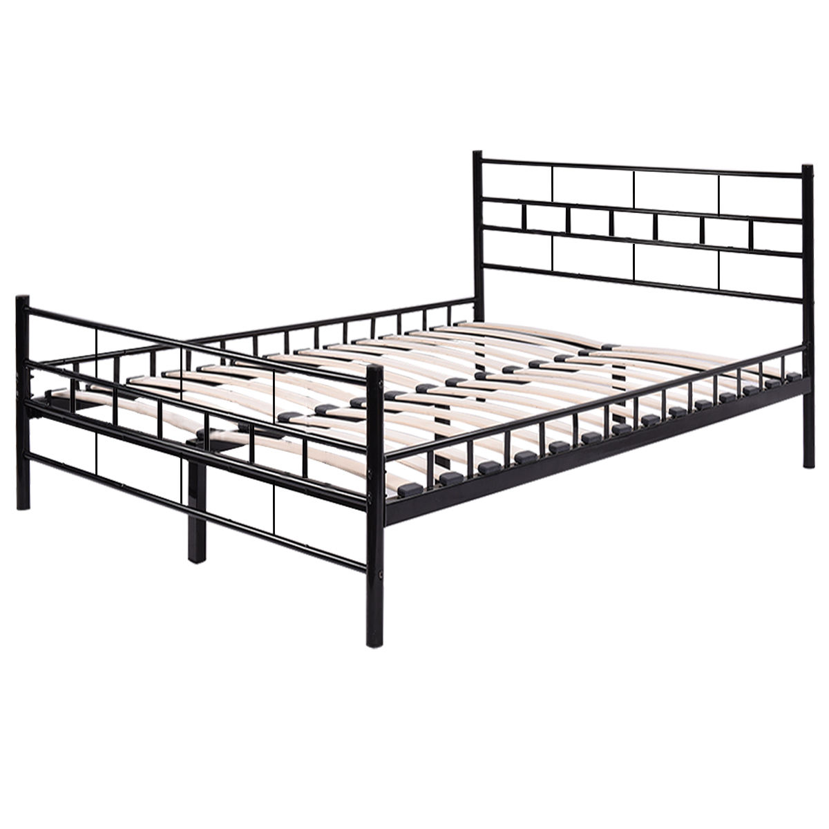 giantex black twin size wood slat steel bed frame platform with headboard footboard modern. Black Bedroom Furniture Sets. Home Design Ideas