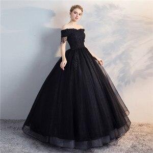 Image 2 - Pani Win Quinceanera sukienki Prom z krótkim rękawem klasyczna Off The Shoulder szlachetna suknia balowa z aplikacjami Party wieczorowa suknia na studniówkę